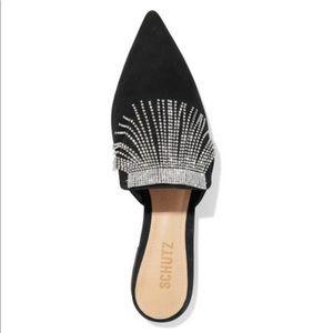 Schutz Mirian Crystal-embellished suede slippers